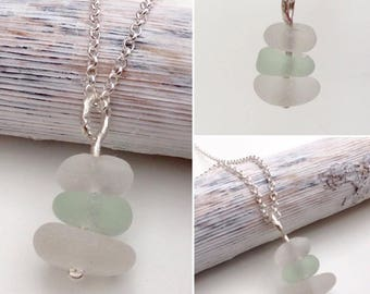 Sterling Silver Seaham Sea Glass Stack Necklace