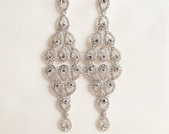 Swarovski crystal and Cubic Zirconia Silver plated Chandelier Wedding Bridal Earrings JSB10052ESilver