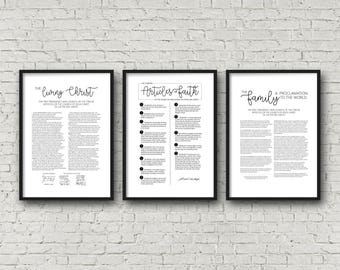 Living Christ + Articles of Faith + Family Proclamation | Set of 3 | Poster 24x36 | Digital Prints | Instant Download | LDS