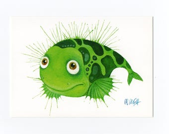 Fine art postcards, postcard fish green, watercolour