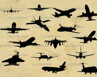 Digital SVG PNG JPG Airplanes, plane, aircraft, vector, clipart, silhouette, instant download