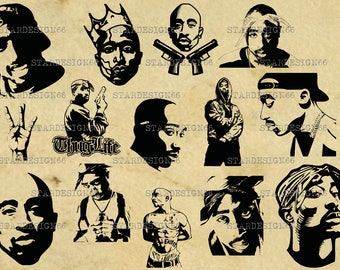Digital SVG PNG JPG Tupac, 2pac, west coast, rap, hip hop, silhouette, vector, clipart, instant download