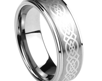 Personalized Stainless Steel Wedding Band Ring 8MM Celtic Knot Engraved Ring  Free Engraving In Side Of The Ring - ZSTR124