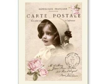 Personalised Handmade Greetings Card ~ Vintage Postcard of A Child  #1