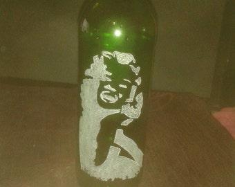 Marilyn Monroe Hand Engraved Bottle