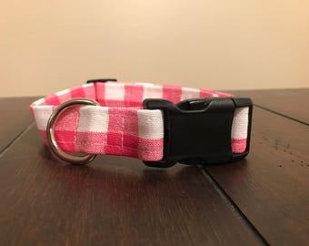 Dog Collar handmade- pink and white gingham