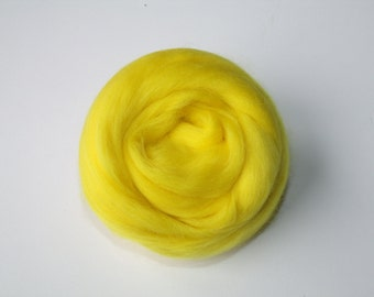 25g wool felting or spinning carded Merino worsted Extra Fine yellow Canary