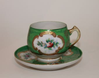 Vintage Floral Green Teacup by H. KATO Made in Occupied Japan 1945-1952