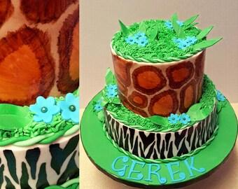 Safari prints faux cake