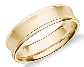 14kt Yellow Gold Women/Men Wedding Band, Concave Design With Inner Brushed Finish Bride/Grooms Ring - Recycled Gold - Hand Finished - G
