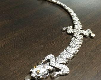 Art Deco Vintage Silver Bracelet with Crystal stones 1990s