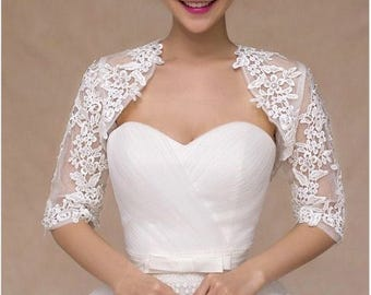 Bridal Half Sleeve Rhinestone Crystal Detail Ivory Lace Appliqués Bridal Jacket Wedding Bolero