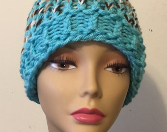 Turquoise and Brown Sloppy Bun Hat