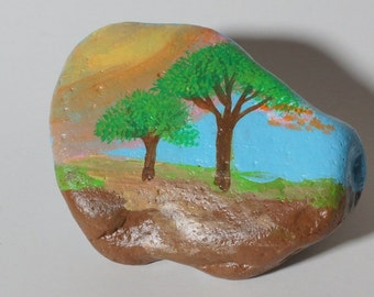 Painted Rock Trees and Landscape
