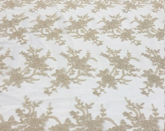 Champagne Floral Lace Mesh Fabric by the yard