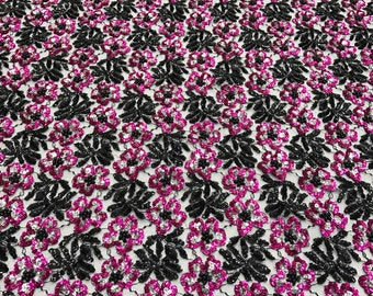 Black and Pink Floral Hand Beaded Lace Fabric By The Yard