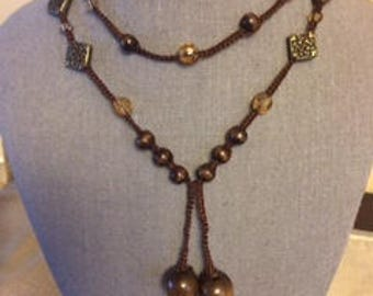 Crochet Necklace with Beads ( Gift Ideas for Her)