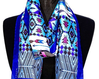 Handmade Silk Foulard, Silk Scarf, Summer Foulard, Hair Scarf, Wrap Scarf, Summer Scarf, Head Bandana, Made in Soufli, Greece, by Kalfas.