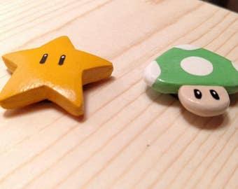 Hand made Super Mario style fridge magnet set.