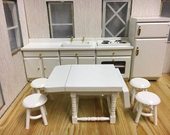 1:12 Scale dolls house miniature white kitchen set 9pcs
