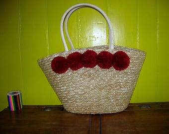 Pompom straw bag