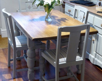 NOW ** SOLD**  Oak Table and Four Oak Chairs