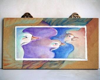 Small original painting of three birds flight mounted