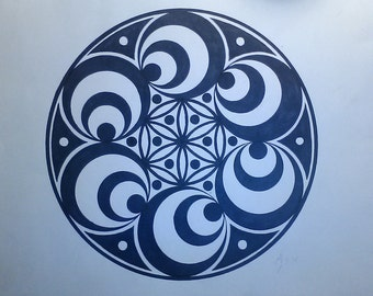 Sacred geometry Doppler effect hand drawn prints
