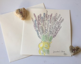 Lavender watercolour card // Unique Watercolour Card // Birthday Card // Anniversary Card // Valentine's Card // Wedding Card // Easter