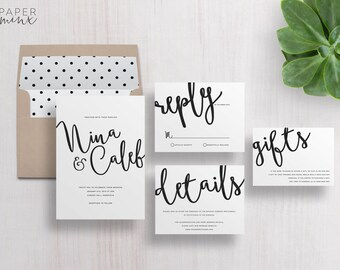 Wedding Invitation | Wedding Invitation Suite | Calligraphy Invitation | Black and White Invitation | Printed Wedding Suite | Nina