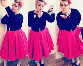 Red and White Polka Dot Full Circle Skirt - UK Size 14