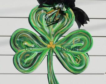 St. Patricks Day Glitter Shamrock Door Hanger, Clover Door Hanger, Erin Go Bragh Wood Painted Door Hanger, Door Decor, READY TO SHIP