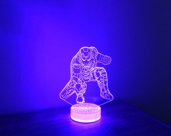 Iron man 3D Night Lamp, 3D Night Light Children Light Home Decor Illusion light