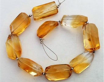 "Natural CITRINE faceted nuggets, beautiful gemstone, 13x24 mm -- 14x24 mm 8.5"" strand approx.[E0394]"
