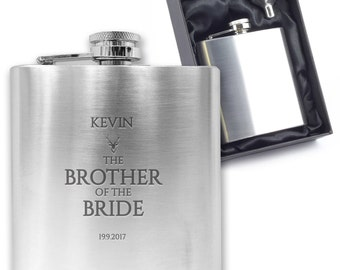 Personalised engraved BROTHER OF the BRIDE hip flask wedding thank you gift idea, stainless steel presentation box - CO6