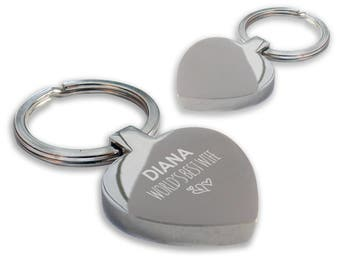 Personalised engraved World's Best WIFE keyring gift, chunky heart shape keyring - HE-WB7