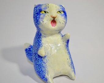 Cranky, fat blue cat
