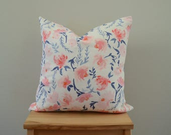 Floral Watercolor Throw Pillow. 18x18 Pillow Cover. Decortative Pillow. Pink and Navy. Ready To Ship.