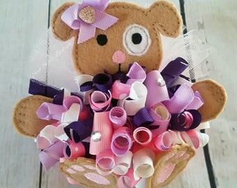 Doggy Ballerina in a pink tutu oversized felt funky loopy hair bow ott over the top