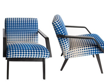 Pair of Mid-Century Chairs, Upholstered in Blue and White Fabric.