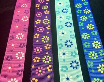 "5 yds 1"" Inch 25mm Flowers Large Grosgrain Ribbon Pink Purple Aqua Blue Royal Blue DIY Hair Bow Crafts Scrapbooking"