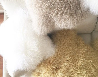 Genuine Mongolian Lamb Fur Cushion Cover