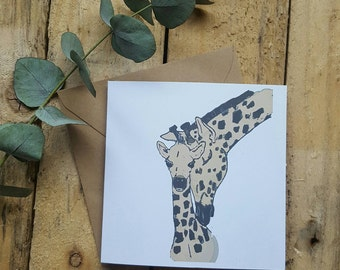 Mother's love - Mother's day card - giraffe and baby card - animal card - Handmade card - animal love card - Mother's and baby giraffe card