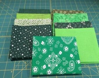 9 Fat Quarters Green Coordinated Colors