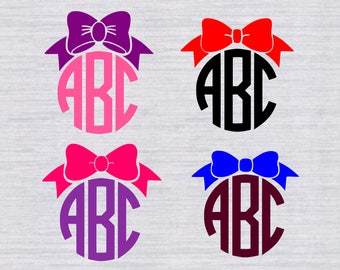 Bow Monogram SVG bundle, Bow SVG, Bow Monogram frame svg, digital, bow clipart, dxf, files for silhouette or cricut, cutfile, eps, cheer bow