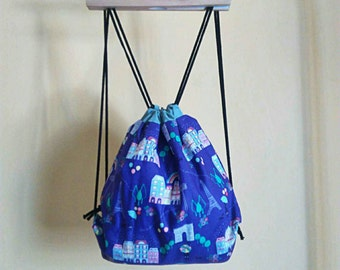 Cute Fabric Backpack / Drawstring bag