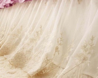 Ivory Luxury Scalloped Lace Ruffle Embroidery Bridal Shabby Chic Bed Skirt Split Corners Coverlet Bedspread Dust Ruffle