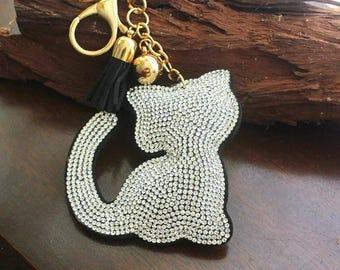 Rhinestone- cat as key chain