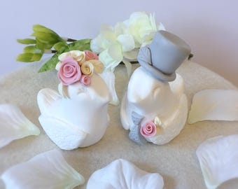 Clay Love Birds Personalised Wedding Cake Topper