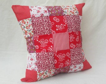 "Red 16"" Patchwork Cushion"